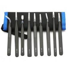 Набор металлических ESD пинцетов YF Tools 10 штук в чехле